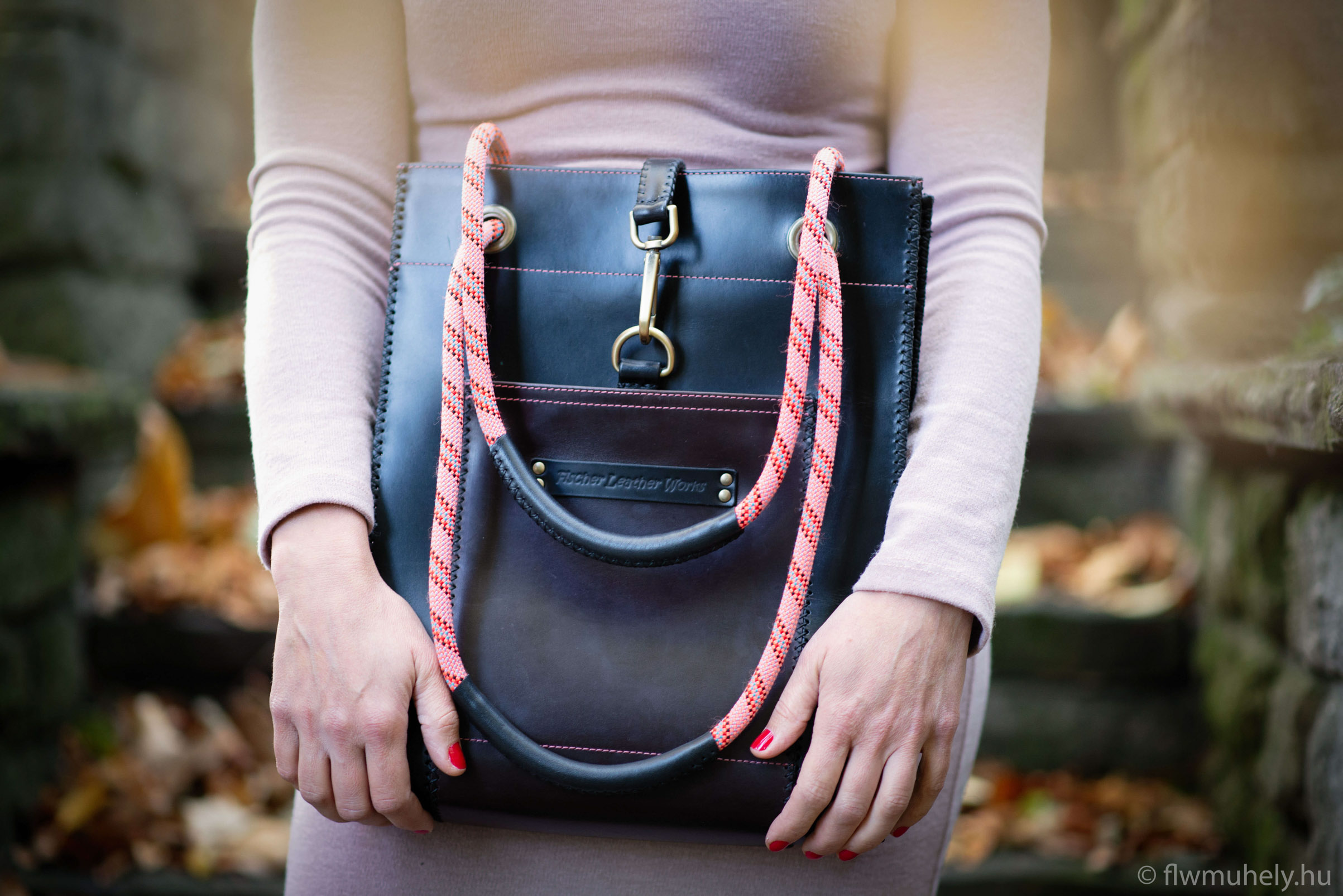 f599e07059c1 Hegymászókötél táska - rózsaszínű kötéllel - flwmuhely